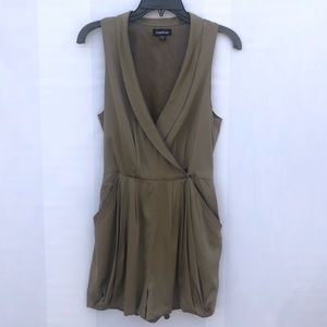 BEBE green military wrap romper size small